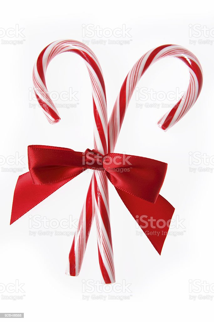 Candycanes with Red Bow (Isolated) royalty-free stock photo