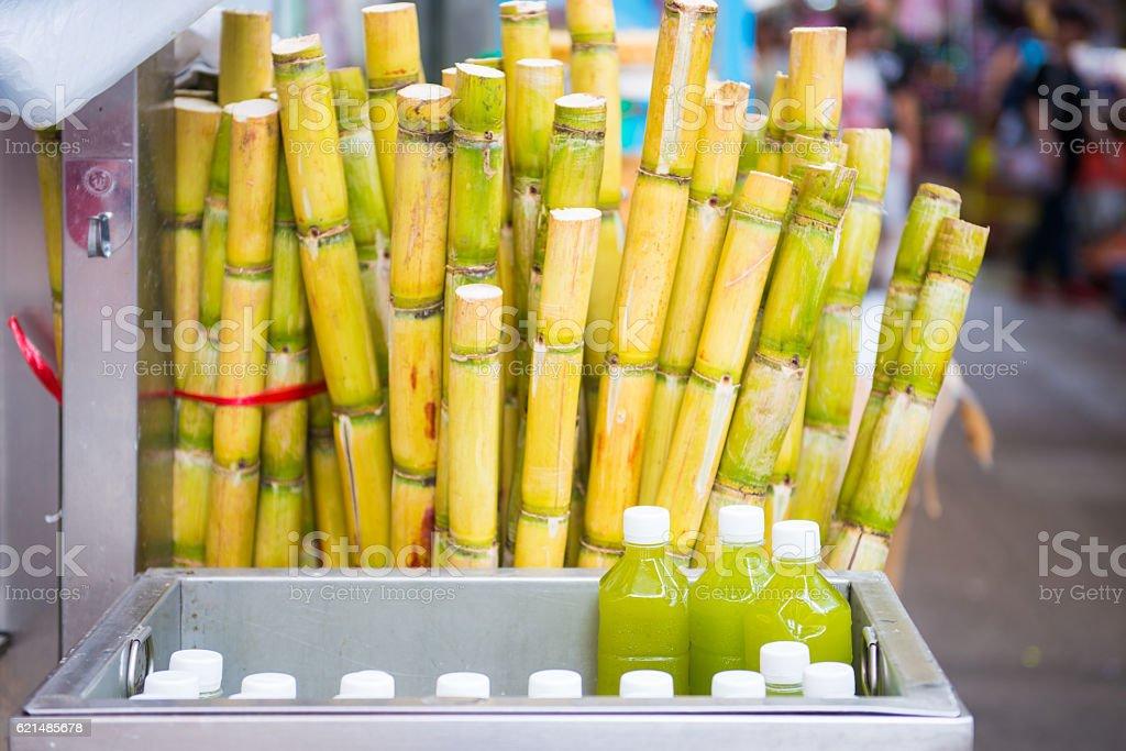 cane and fresh sugarcane juice in bottle Lizenzfreies stock-foto
