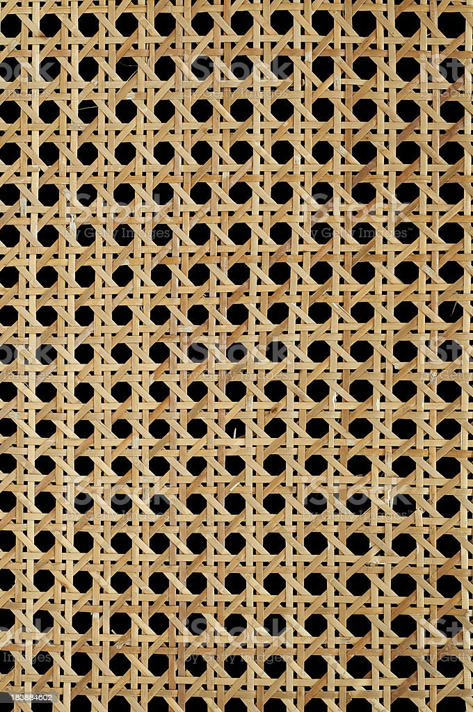 Cane Chair Seat Background over Black stock photo