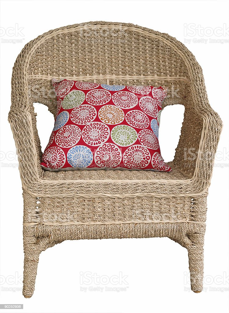 Cane Chair with Cushion royalty-free stock photo
