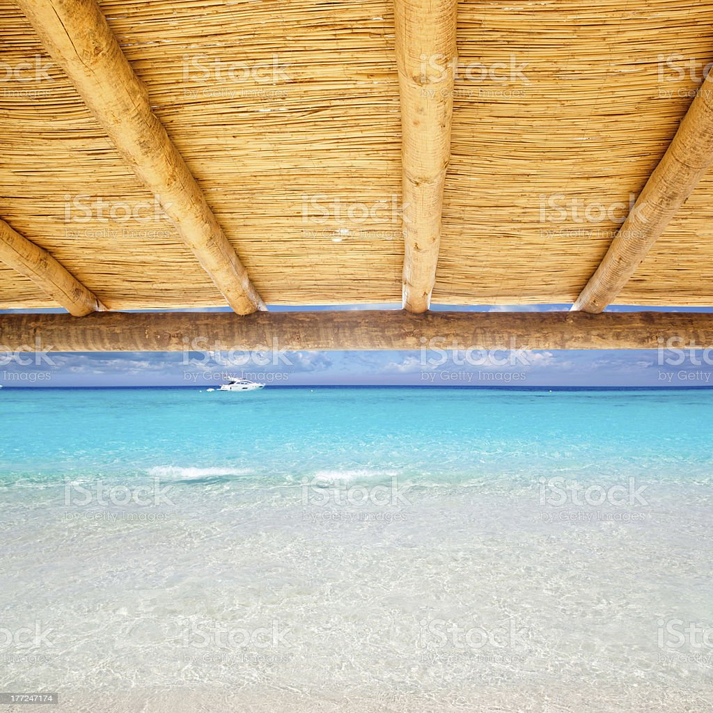 Cane sunroof with tropical perfect beach stock photo