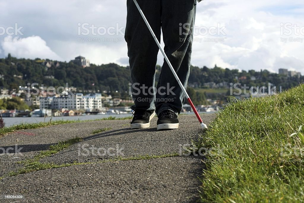 Cane User In Seattle stock photo