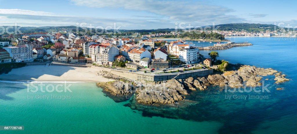 Praia de Caneliñas em Rias Baixas em Pontevedra - foto de acervo