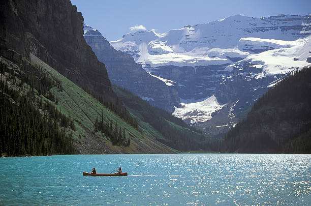 Caneoing on Lake Louise