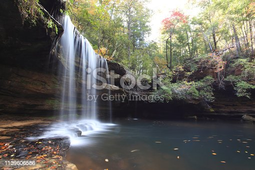 Caney Falls is located inside Bankhead National Forest, Alabama.  The hiking trail to Caney Creek Falls offers two of the best waterfalls in the state of Alabama.