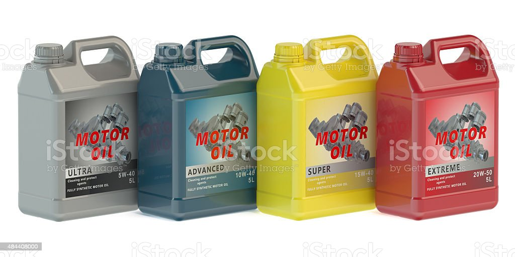 canisters motor oil stock photo