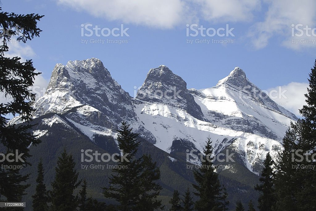 Canmore's Three Sisters stock photo