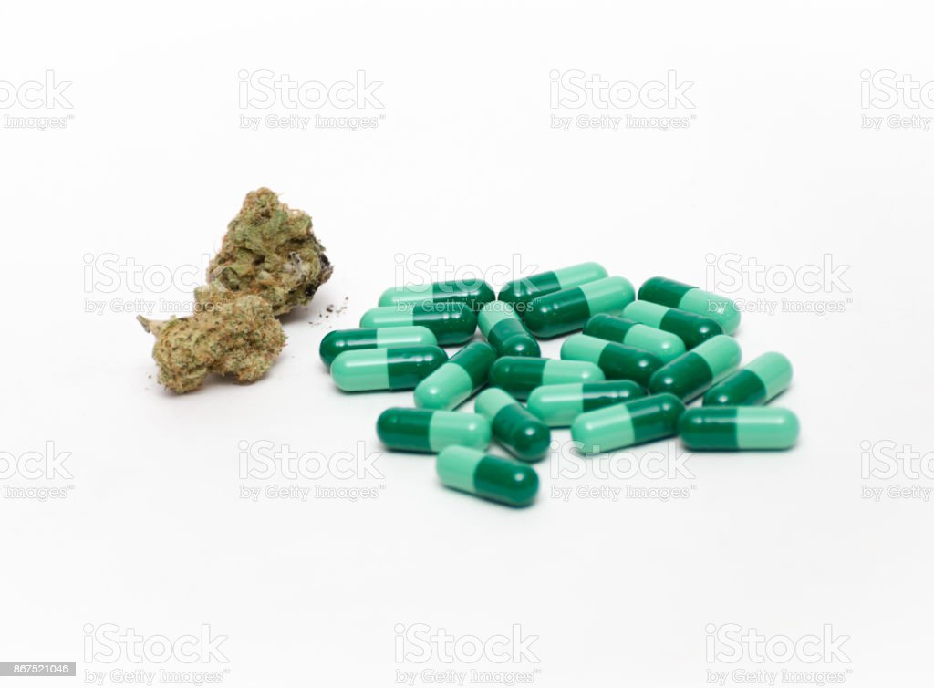 Cannabis and Pills stock photo