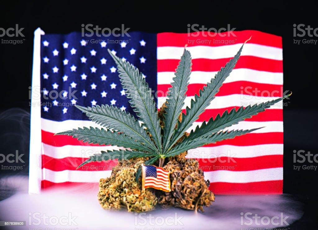 Cannabis bud, leaf and american flag with smoke  - veteran medical marijuana concept stock photo