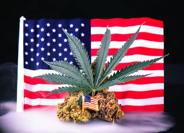 cannabis bud, leaf and american flag with smoke  - veteran medical marijuana concept - legalizzazione foto e immagini stock
