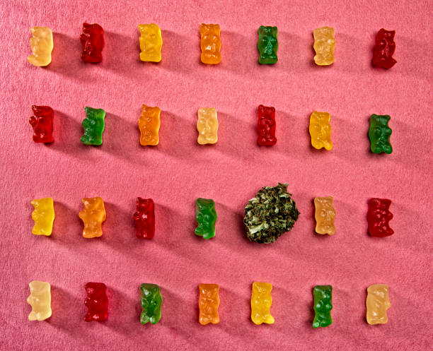 Cannabis bud surrounded by edible colorful gummy bears in a row stock photo