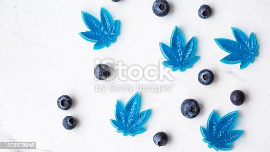 istock Cannabis CBD infused blueberry edibles 1205878945