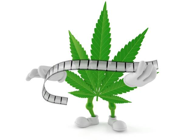 Cannabis character holding film strip stock photo