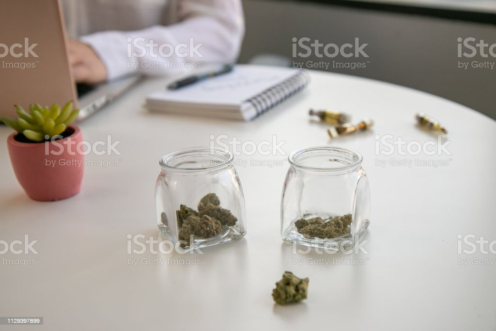 Cannabis Entrepreneur working on Marketing for Marijuana Business in Bright, Soft Lit Office stock photo