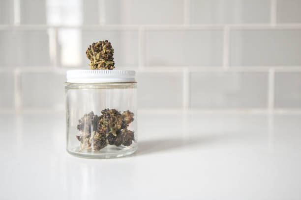 Cannabis in Glass Jar stock photo
