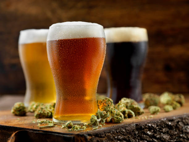 Cannabis Infused Beers stock photo