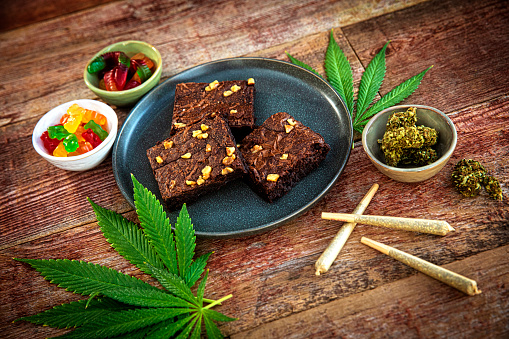 This is a stock photograph involving cannabis in brownies, marijuana and its implications in America has just slowly been legalized and used for medicinal and medical purposes and what that means to our economy and culture.