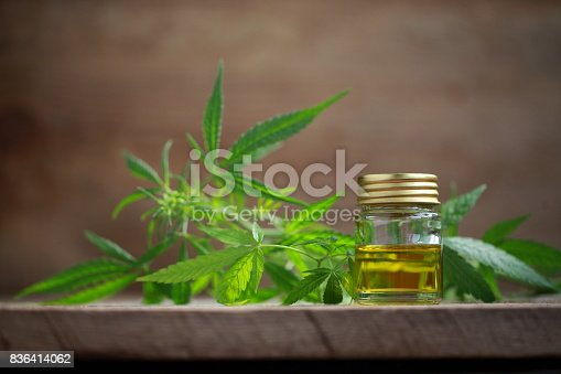 istock A cannabis leaf and a bottle of hemp oil on a wooden table 836414062