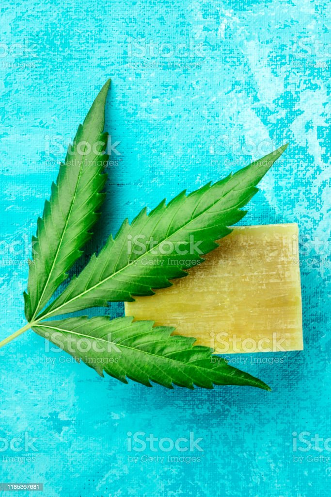 A Cannabis Leaf With Homemade Hemp Soap Bar Shot From Above On A Turquoise Blue Background With A Place For Text Stock Photo Download Image Now Istock