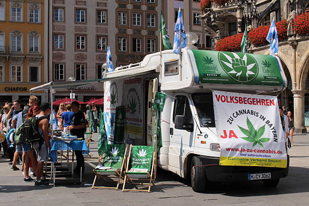 Cannabis legalization campaign in Munich stock photo