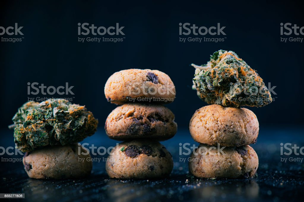 Cannabis nugs over infused chocolate chips cookies - medical marijuana edibles concept stock photo