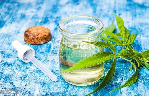 istock Cannabis oil and marijuana leaves 941294576