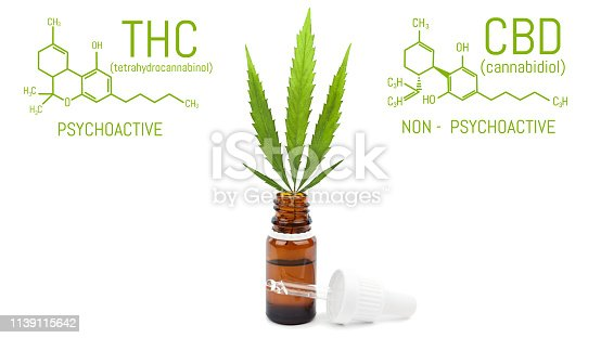 istock CBD cannabis oil with dropper, green hemp leaf in bottle. Marijuana products isolated white background. Medical concept 1139115642