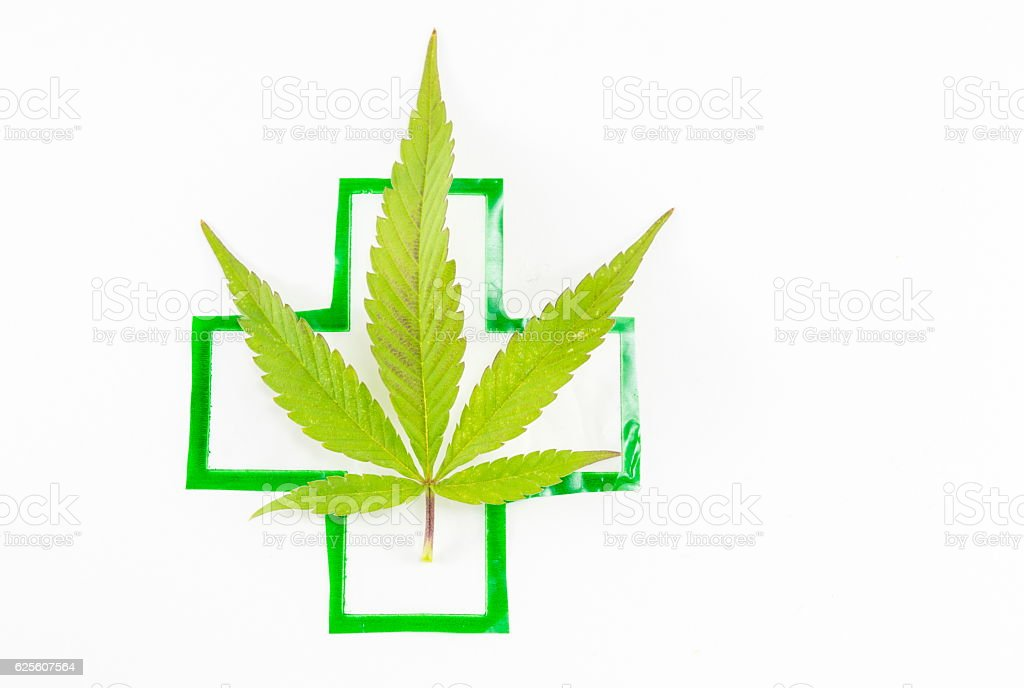Cannabis plant and medical sign. stock photo
