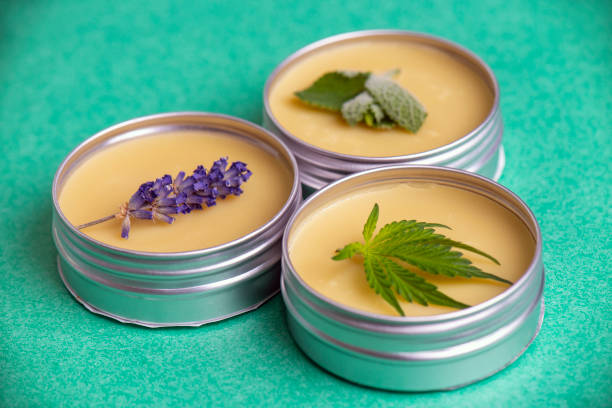 Cannabis salve made from hemp and CBD oils with mint and lavender stock photo