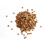 Cannabis seeds isolated on white background. Marijuana grains, herbal treatment product macro view.