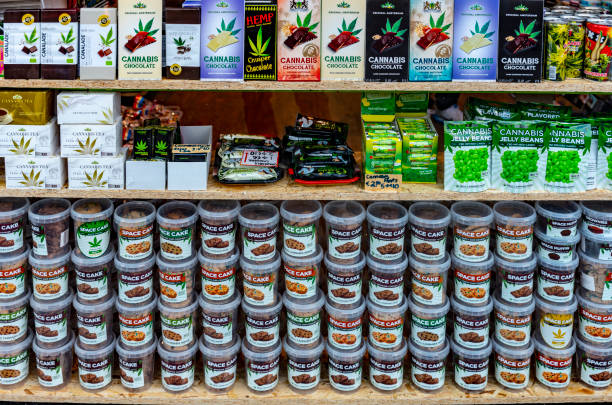 Cannabis types in shop window stock photo
