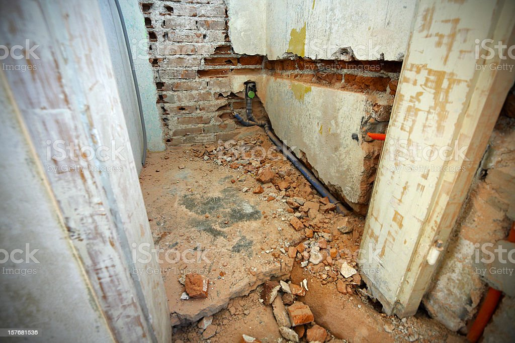 Cannals in demolished walls royalty-free stock photo