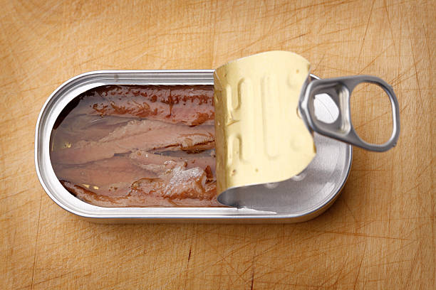 Canned Anchovies in Olive Oil A can of anchovies in olive oil on a well-used cutting board background. anchovy stock pictures, royalty-free photos & images