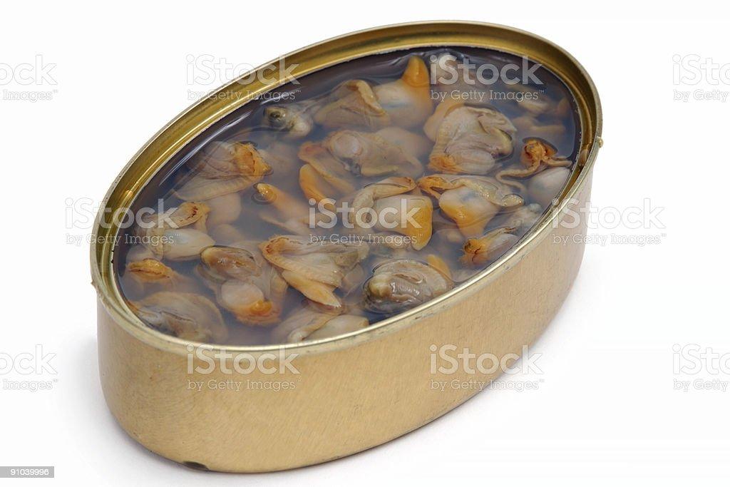 Vegetales enlatados almejas - foto de stock