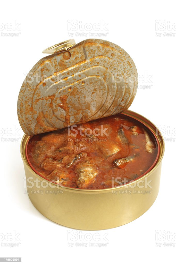 Canned fish in tomato sauce royalty-free stock photo