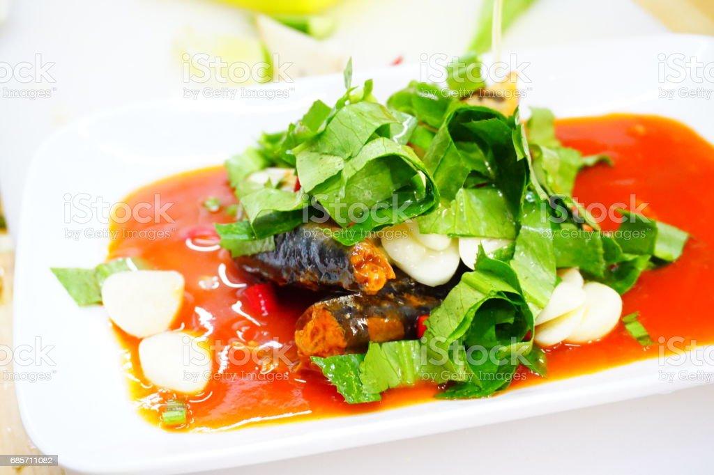 생선 통조림된 믹스, 냠 태국 음식 스타일 royalty-free 스톡 사진