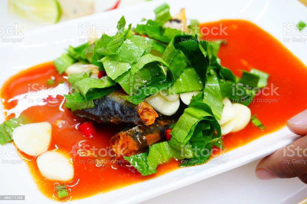 罐頭的魚組合,百勝泰國美食風格 免版稅 stock photo