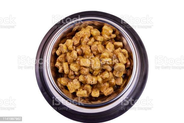 Canned food for cats or dogs in metal bowl isolated on white picture id1141997952?b=1&k=6&m=1141997952&s=612x612&h=wu6 zvoccisie9lmdz87yzgfxpkfbwluq9gzfr2dh0i=