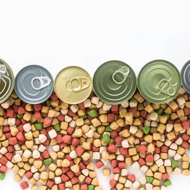 canned food for pets isolated on white. - lata comida gato imagens e fotografias de stock