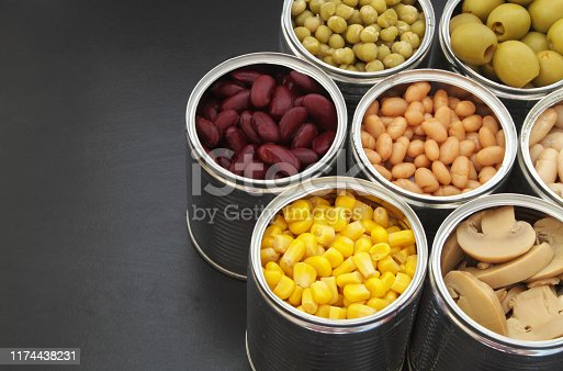 istock Canned food on black table background 1174438231