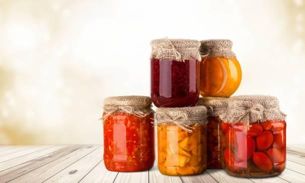 canned food. - jam jar imagens e fotografias de stock