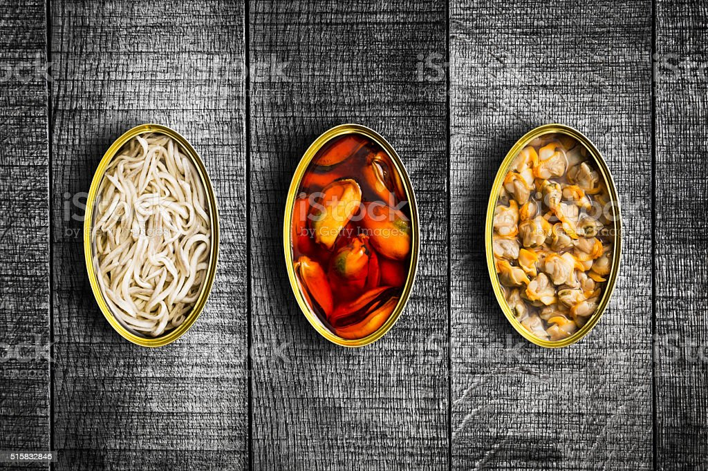 Canned food. Top view. stock photo