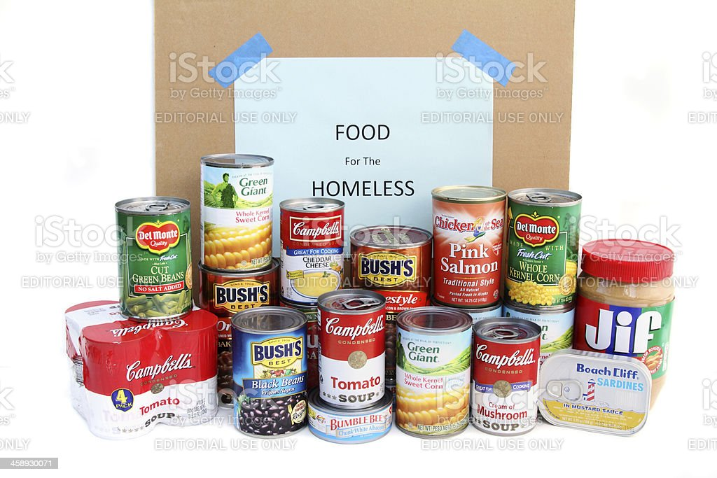 Canned goods food drive royalty-free stock photo