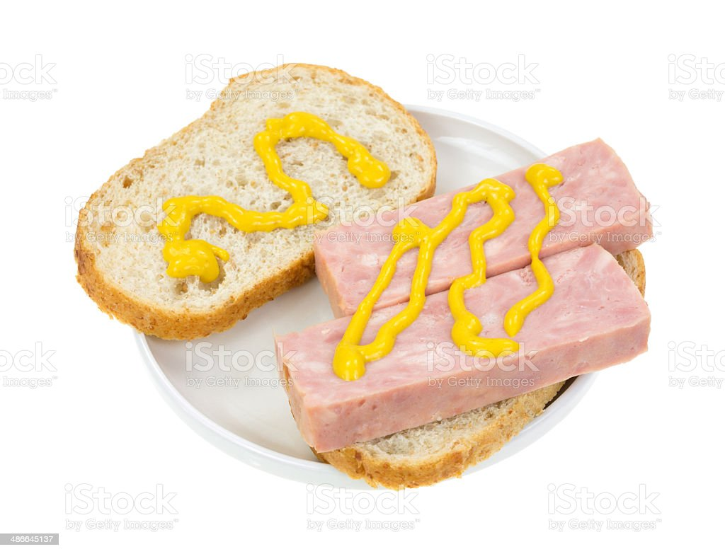 Canned ham sandwich with mustard stock photo