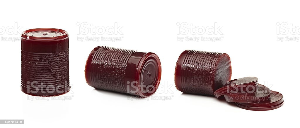 Canned jelly cranberry sauce removed from the can stock photo
