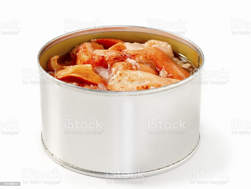 Canned Lobster Meat stock photo