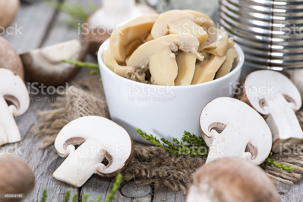 Canned Mushrooms stock photo