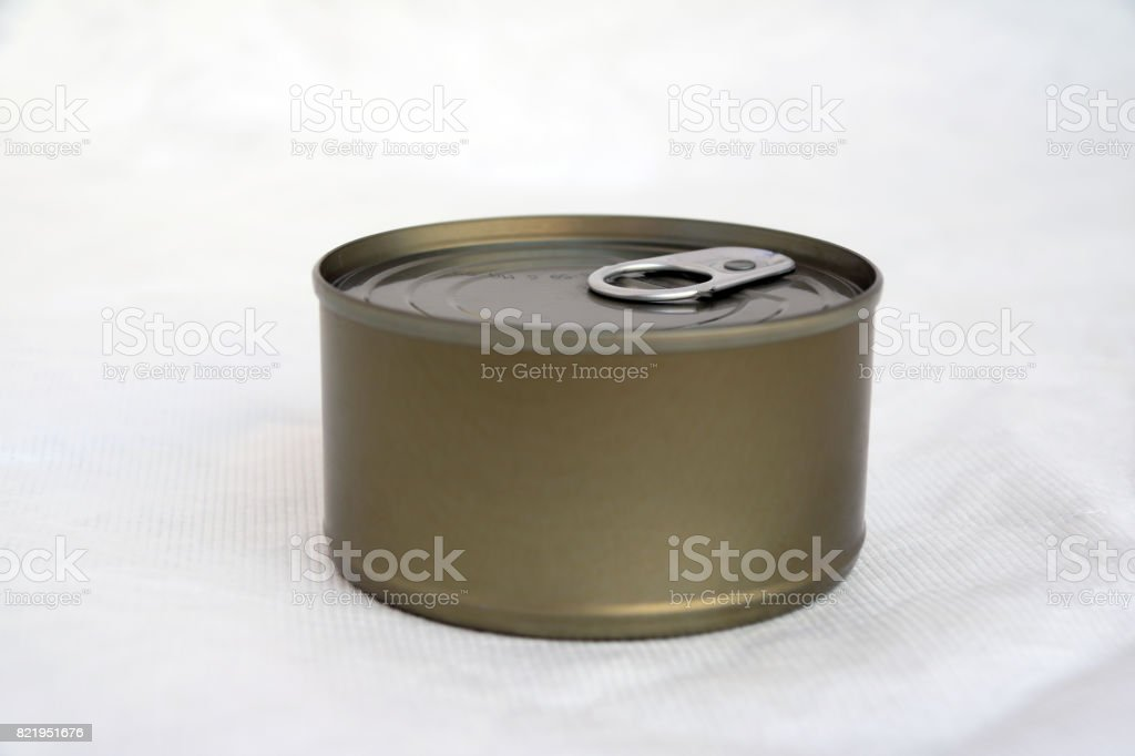 canned on white background. stock photo