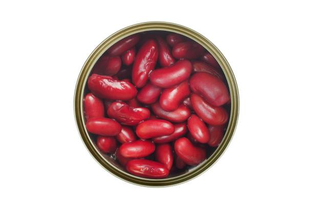Canned red bean on white stock photo