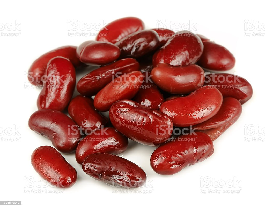 Canned Red Kidney Beans Isolated on White Background stock photo